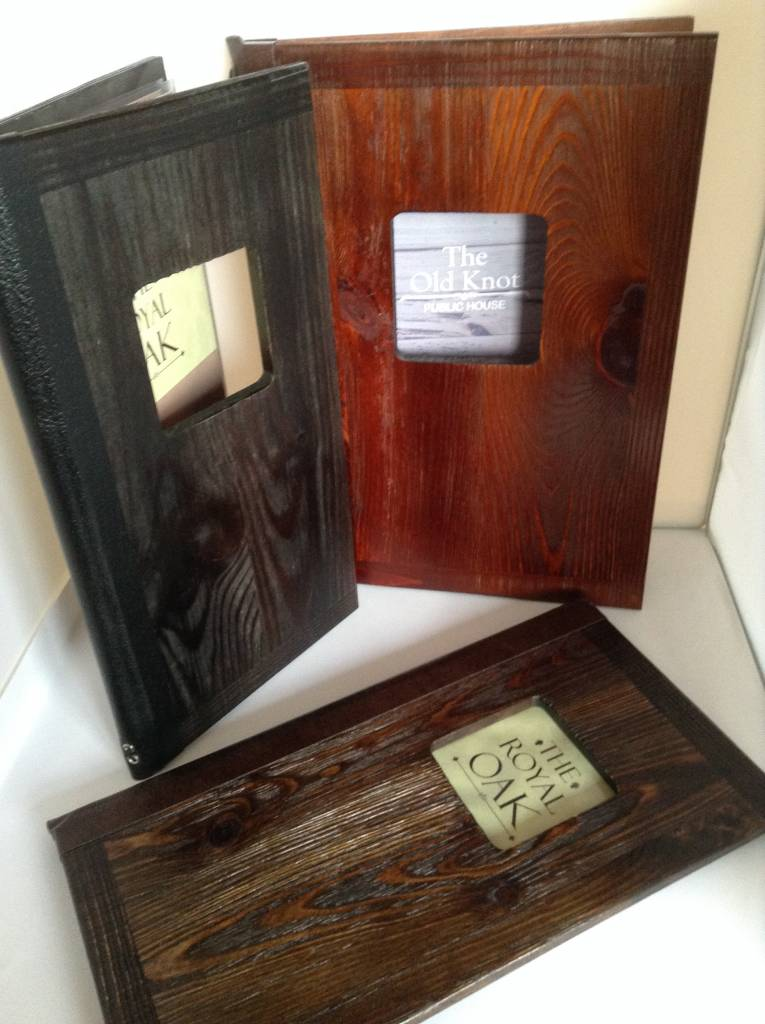 Buffalo Wood Window Menu Covers by Mainly Menus Ireland