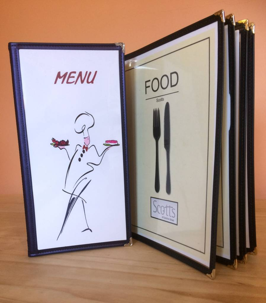 Clipper Book Style Menu Covers mainly menus ireland