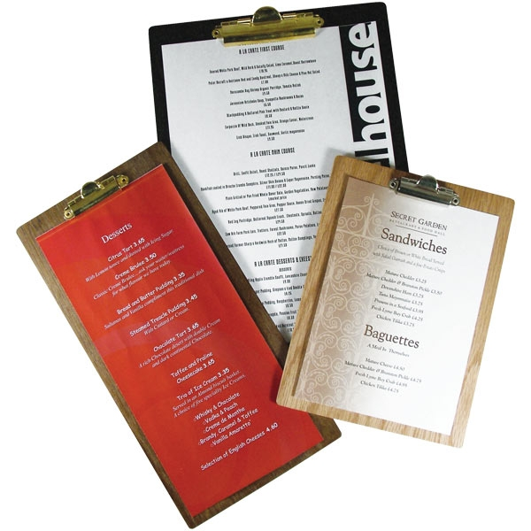 wood clip boards by mainly menus ireland
