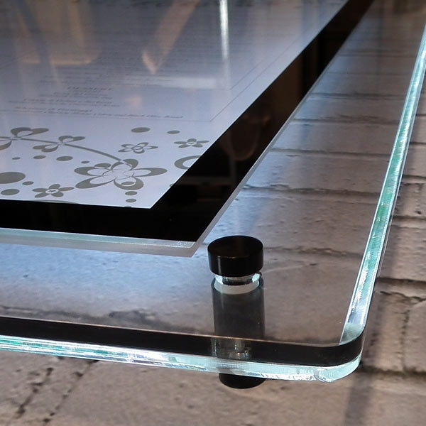 crystal glow wall mounted menu display case by mainly menus ireland