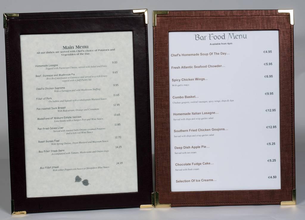 Window Frame Menu Boards Tariff Boards by Mainly Menus Ireland