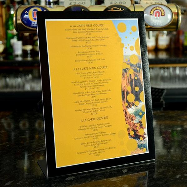 Meteor table top menu by mainly menus ireland