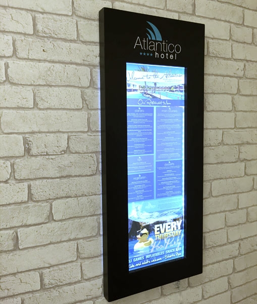 wood wall mounted menu display cases