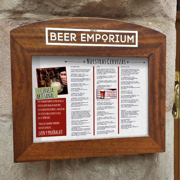wood wall mounted menu display cases