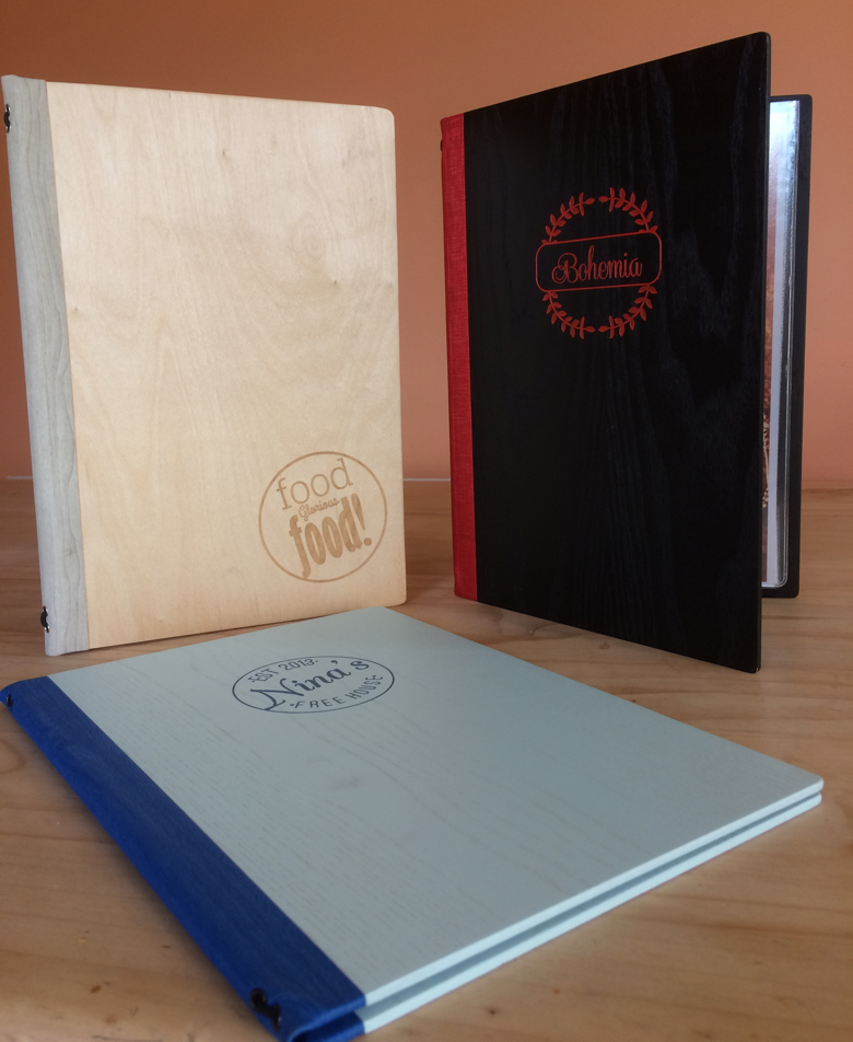 authentic wooden menu covers by mainly menus ireland