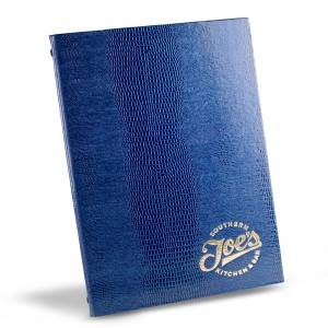 Gecko Blue Menu Cover with Silver Logo