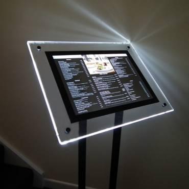 Crystal Glow Free Standing Menu Display Case