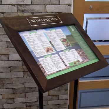 Wood Impact Free Standing Menu Display Case